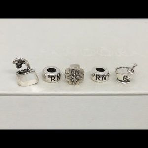 Sterling Silver & SP RN Euro Charms Set